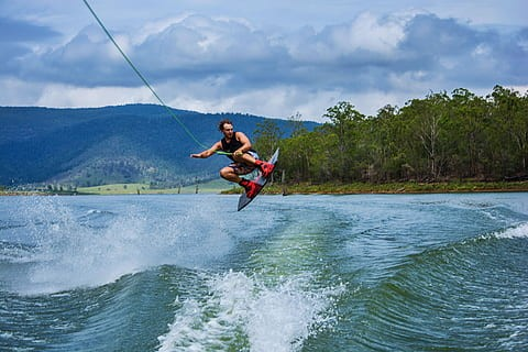 Man in wakeboard session