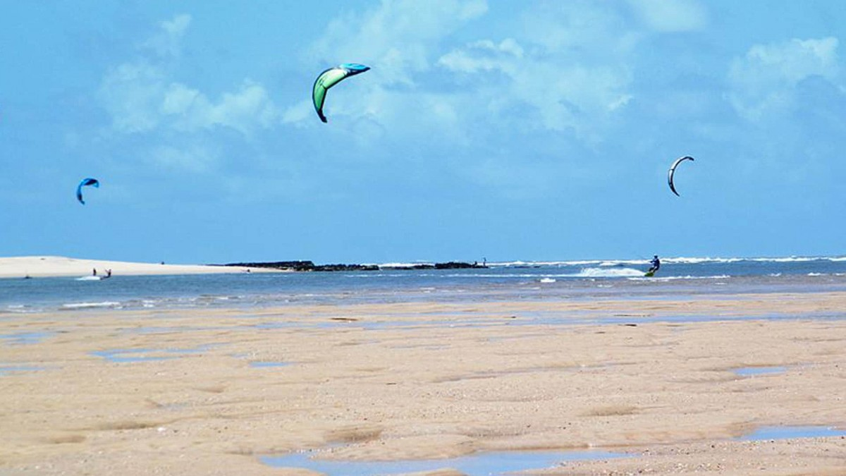 Kitesurfing on a Brazilian beach