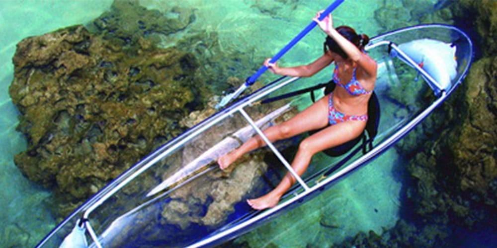 Transparent Canoe-Kayak in Reunion Island