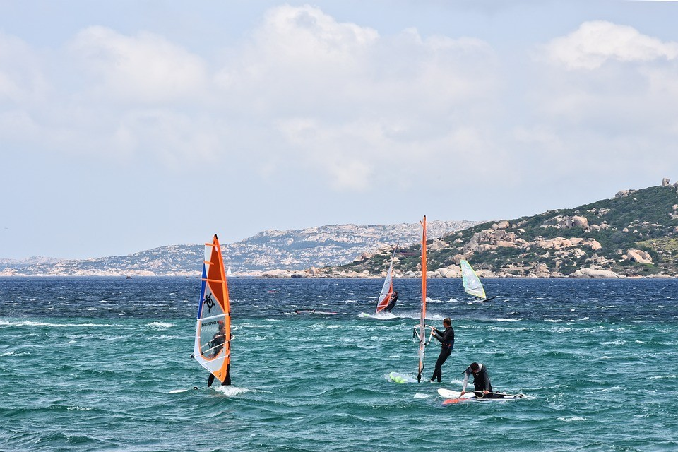 Windsurfing on turquoise water