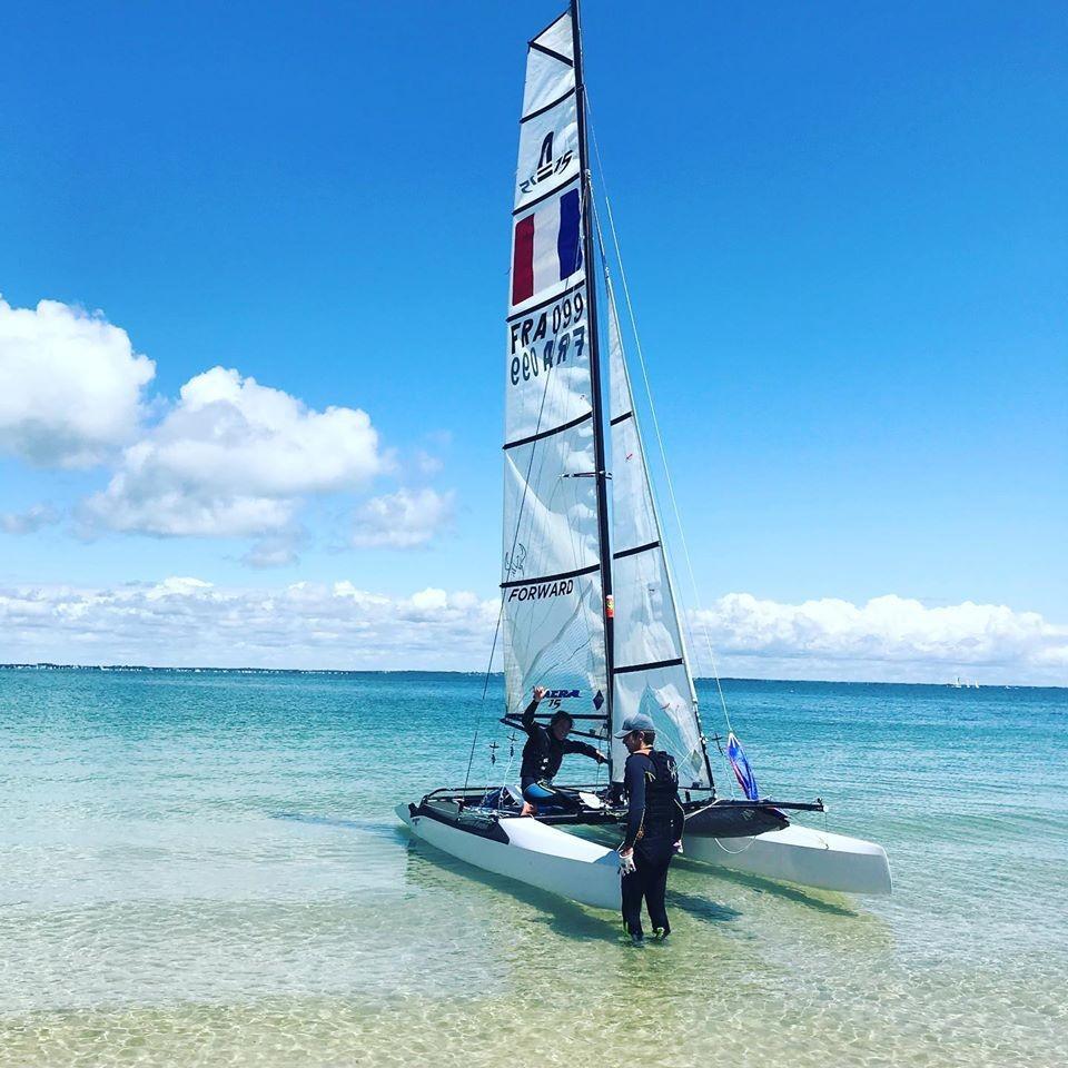 Catamaran on turquoise water