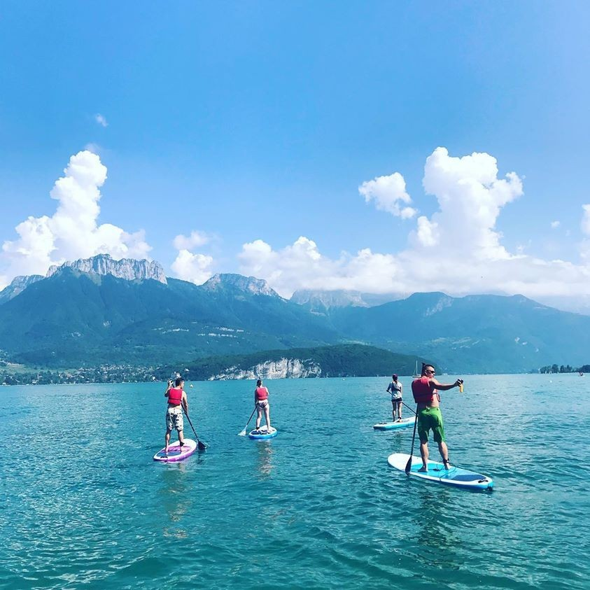 Paddle boarding on the lake in Annecy