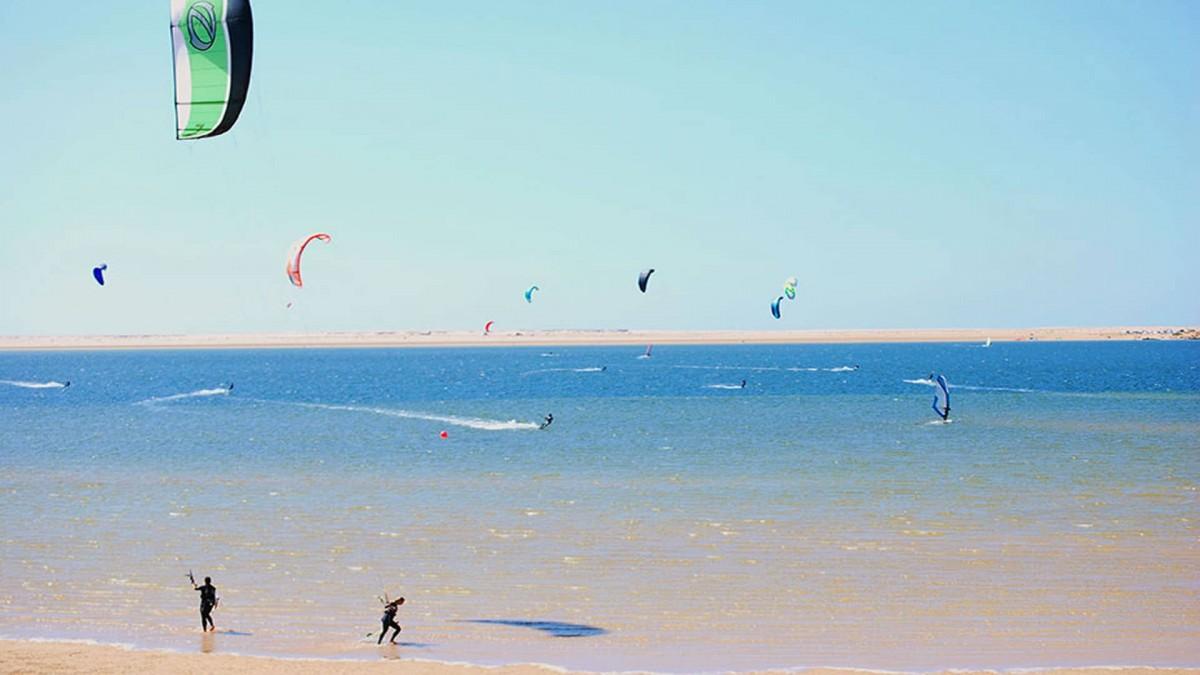 Kitesurfing in turquoise water